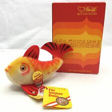 "Vintage STEIFF FLOSSY Mohair Fish 5"" W/ All I.D.s Button Tag 2301/10 NEW IN BOX"