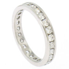 18k White Gold 1.1ctw Round VS F Diamond Channel Eternity Band Ring Sz 5.5