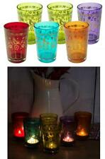 e2e Set of 6 Birds & Flowers Votive Glass Candle Tea Light Holder Lantern