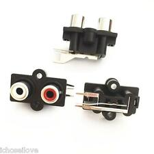 1Pcs PCB Mount 2 RCA Female Stereo Aux Audio Video Jack AV Socket Connector