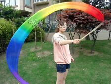 Various colors 2.5m*0.3m silk dance streamers, bamboo sticks+light 5mm real silk