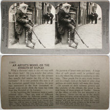 Keystone Stereoview Old Man on Streets of Napoli, ITALY From RARE 1200 Card Set