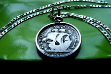 "pre 1950  Portuguese Silver Ship Coin Pendant on a 30"" 925 Sterling Silver Chain"
