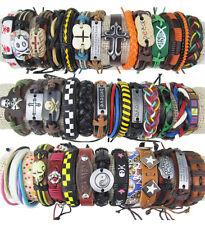 Jewelry Believe Hemp Cuff Genuine Leather Bracelets random color 3pcs NEW BRBM
