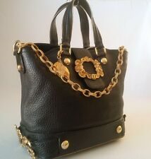 DOLCE & GABBANA PEBBLED LEATHER BAROQUE HANDBAG BLACK MADE IN ITALY- MINT