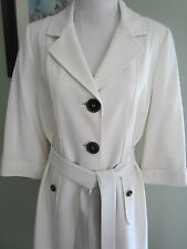 Elie Tahari White Off 3/4 Sleeves Belted Trench Coat Size M