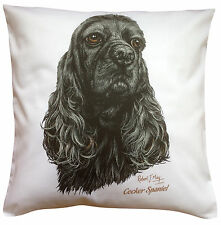 Cocker Spaniel American Black RM Dog Cotton Cushion Cover - Perfect Gift