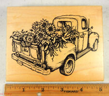 Rubber Stamp PSX K-2040 Vintage Harvest Truck Pickup Farm Sunflowers Corn #3436