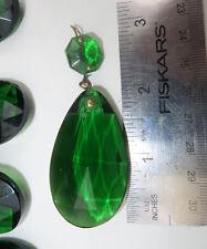 1 Vintage light Emerald Green German glass Crystal Prism Lamp Chandelier Part