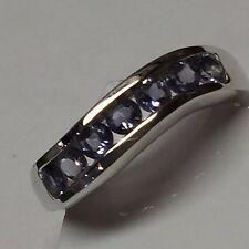 Natural 2.5ct Iolite Water Sapphire 925 Solid Sterling Silver Solitaire Ring 6