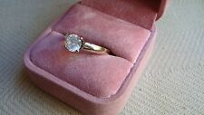 NICE 14K SOLID YELLOW GOLD ENGAGEMENT  RING WITH CZ