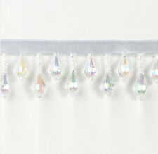 E1670 CRYSTAL AB TEARDROP BEADED FRINGE SEWING TRIM 1""