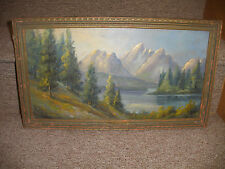 ANTIQUE OIL PAINTING LANDSCAPE STANLEY LAKE HUDSON RIVER STYLE SIGNED W HALL