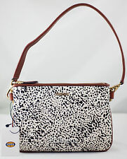 GENUINE FOSSIL MEMOIR BONE POCKETBOOK TOP ZIP HAIRCALF BAG HANDBAG ZB5414105 NEW