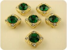 Beads 8mm Emerald Swarovski Crystal Elements ~Gala ~GOLD ~2 Hole Sliders ~QTY 6