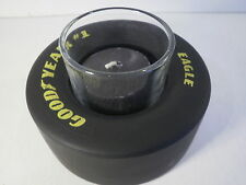 Black Candle Goodyear Tire NASCAR Rubber Racing Slick Unscented Glass Votive New