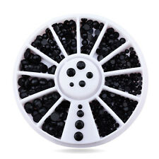 650 Pcs 3D Black Nail Art Tips Gems Crystal Rhinestones DIY Decoration Wheel