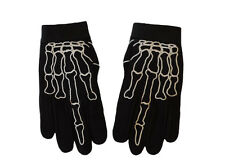 Motorcycle Skeleton Middle Finger Bone Textile Mechanic Gloves Size MEDIUM
