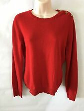 100% Cashmere Lauren Green Label Womens Sweater Crewneck Red Long Sleeves Size M