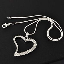 Lovely Womens White Gold Filled Clear Rhinestone Heart shape Pendant Necklace