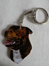 BROWN STAFFY STAFFORDSHIRE BULL TERRIER DOG KEYRING. NEW. KEY RING
