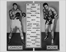 1952 Boxers HAROLD JOHNSON vs ARCHIE MOORE Glossy 8x10 Photo Match-Up Poster