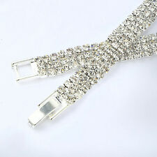 Fashion Womens Vintage White gold fiiled 3 Row Crystal bracelet For best friend