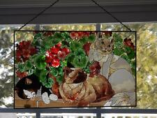 "Joan Baker Stained Glass Suncatcher Cats &Geraniums 16x10"" EXC Rectangular Label"