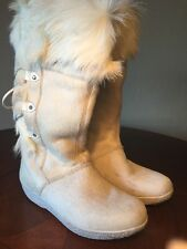 Technica Italy White Goat Fur Snow Ski Boots Size 39.5 USA 8