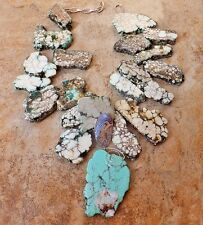 TURQUOISE & HOWLITE EXTRA LARGE STATEMENT NECKLACE ABALONE SEA OPAL BLUE SLAB XL