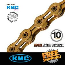 KMC X10SL Gold Chain 10 Speed 112link with Missing Link for Road / MTB Bike