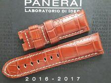Genuine OEM Officine Panerai 24/22mm marrón/correa de implementación crudo Aligator!!! nuevo!!!