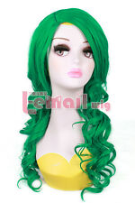 Anime Synthetic Green 55cm Long Curly Wave Hairs Cosplay Wigs+Wig Cap