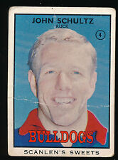 1968 B Scanlens Footscray No. 4 John Schultz Bulldogs card ****