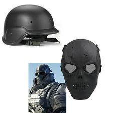 SWAT Tactical Military Full Face Skull Mask Helmet Set CS Game Airsoft Painball