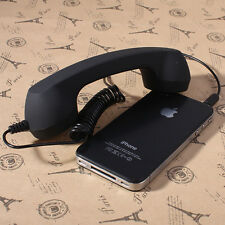3.5mm Mic Retro POP Cell Phone Handset For Mac Iphone Ipad,Nokia Black
