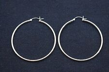 "2"" 2mm X 50mm Plain Polished Round Hoop Earrings Real 925 Sterling Silver"
