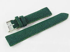 20mm Genuine Real Stingray Skin Watch Band Strap Nubuck Suede Backing Green