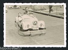 Foto vintage photo, auto padre figlio Carrousel CAR vizio son GO KART SCOOTER/44x