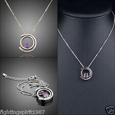 2 Ringe Silber pl. Halskette Swarovski Element Geschenk Original Design / 073