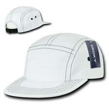 White 5 PANEL STRAPBACK HAT Contra-Stitch Plain Blank Cotton Camper retro camp