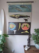 VINTAGE Pull abbassa zoologico SCUOLA grafico di Blue Whale Jung Koch quentell