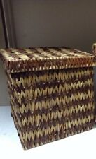 Jute Seagrass Toy Laundry Bathroom Storage Organizer Basket & Lid Light Brown SM