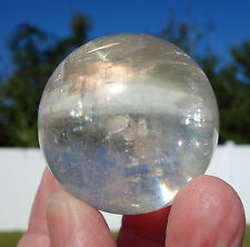 Clear White OPTICAL CALCITE Iceland Spar Crystal Sphere Ball Rainbows Shaman