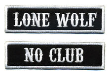 No Club Lone Wolf patch set badge Hot Rod motorcycle biker MC black and white