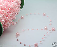 bride Party Wedding Decor Garland Acrylic pearl Bead Strand curtain 1yd pink