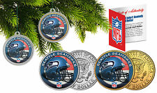 SEATTLE SEAHAWKS Christmas Tree Ornaments JFK Half Dollar US 2-Coin Set NFL