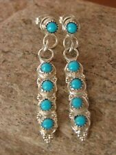 Native American Jewelry Sterling Silver Turquoise Dangle Earrings! Navajo Indian