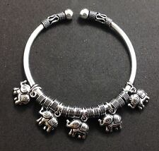 Tribal Artisan Sterling Silver 925 Bangle Cuff Elephant Charm Jewelry Bracelet