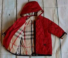 Baby Boy/Girl Designer Burberry Lightly Padded Red Coat 1-2 Years Good Condition